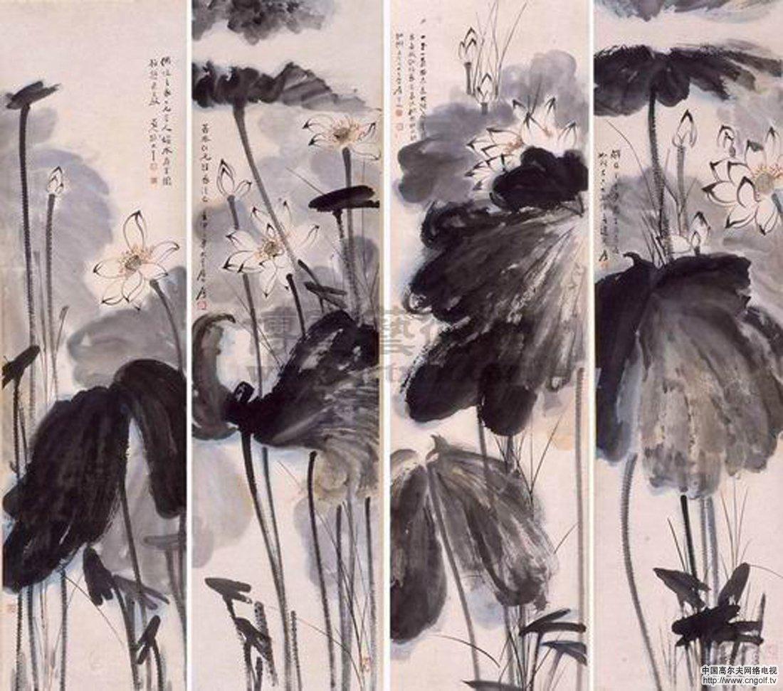 亮相北京国际艺术博览会;; (文中莲图 均为张大千所作); 张大千荷花四图片